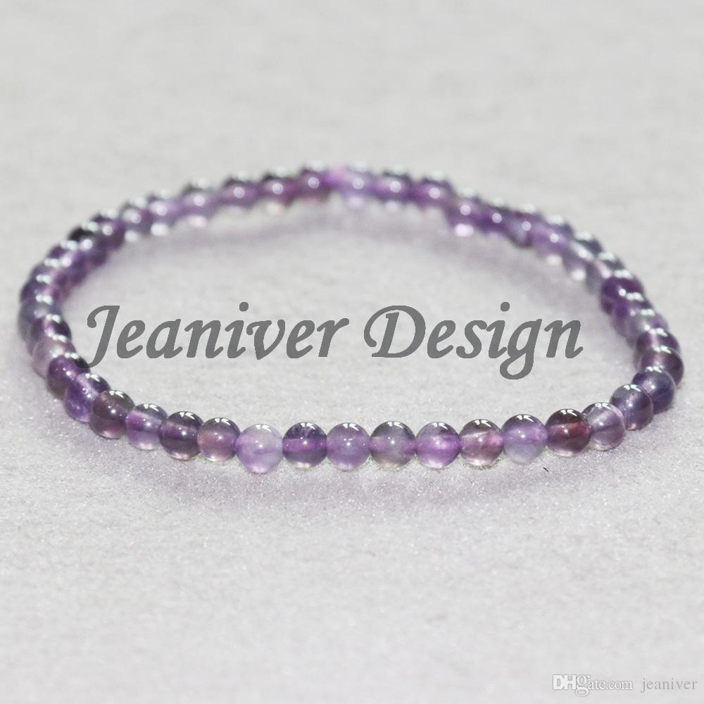 Jeaniver 2019 Amethys t Bracelet 4mm Violet Cristal Bracelet Mini Gem Pierre Bracelet D'énergie