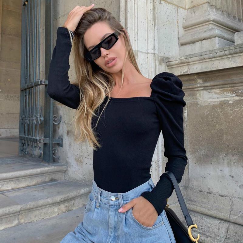 Hot automne nouvelles femmes chemises fil rétro manches bouffantes tempérament de mode col carré court tshirt sauvage Slim solide Y200110