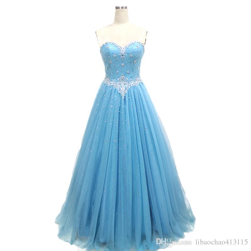 Compre Light Sky Blue último Diseño Vestido De Noche Formal Vestido Con Cuentas De Cristal Corsé Volver Encaje Vestido De Fiesta Vestido De Noche