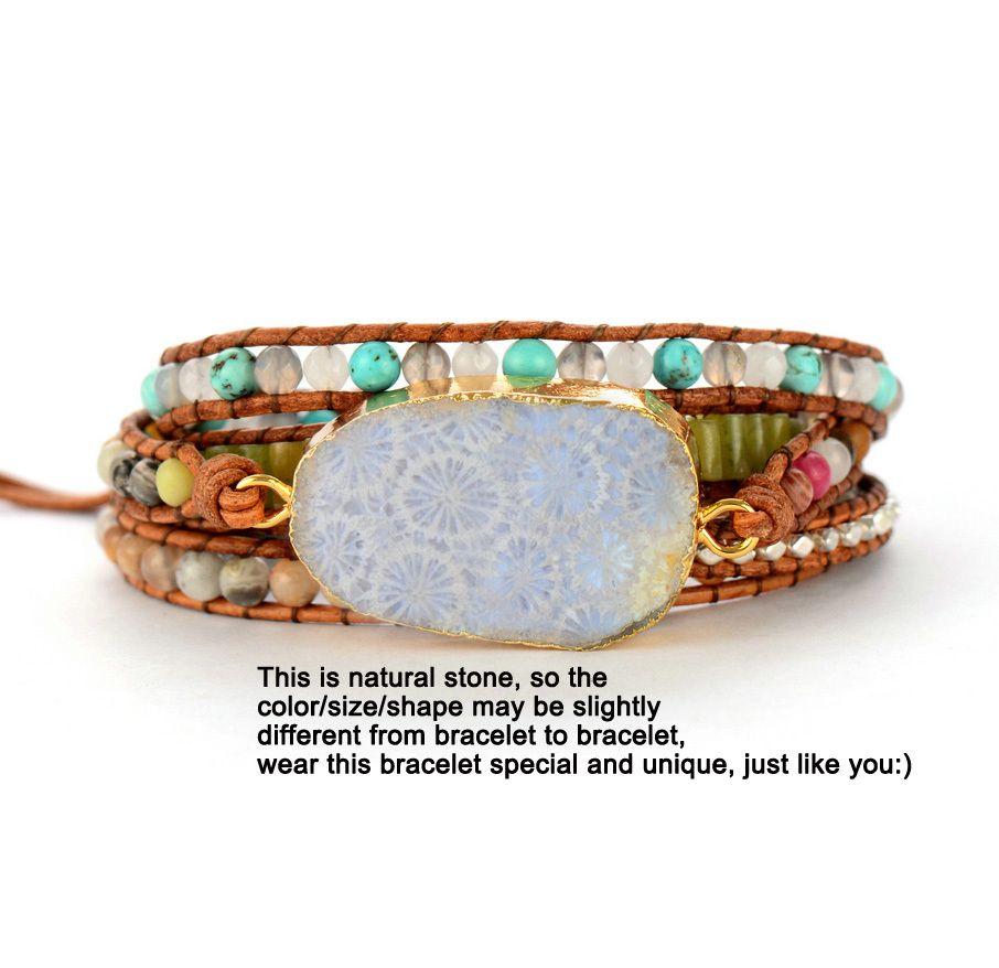 FASHION- Bracelets Pierres naturelles Cuir Pierres Chrysanthème Charm 5 Brins Wrap Bracelets Boho Bracelets Dropshipping S915