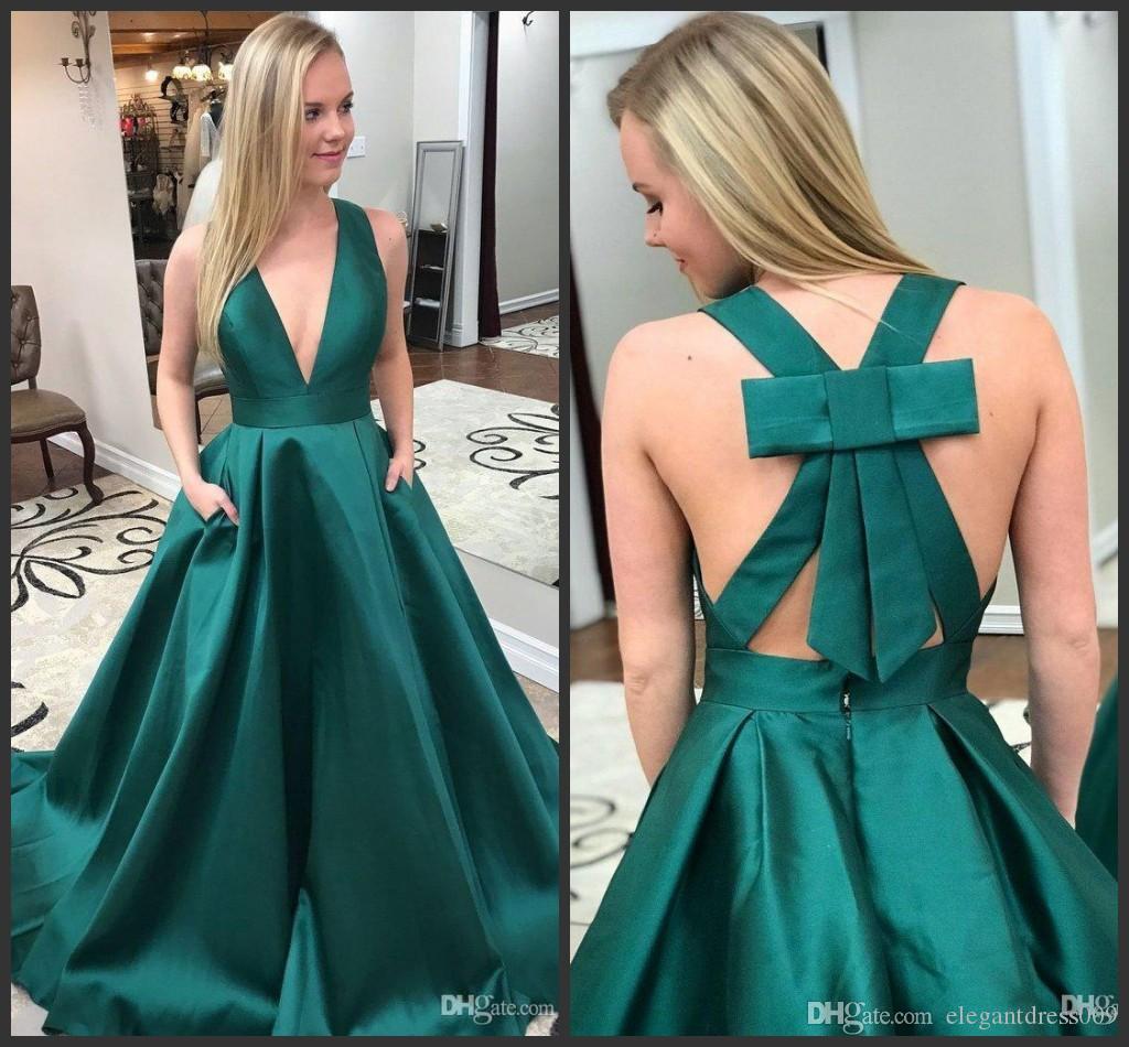 Sexy verde escuro baratos Prom Dresses 2019 decote V profundo longa simples Formal Cocktail vestidos de noite vestido de festa Bola Tapete Vermelho Vestido