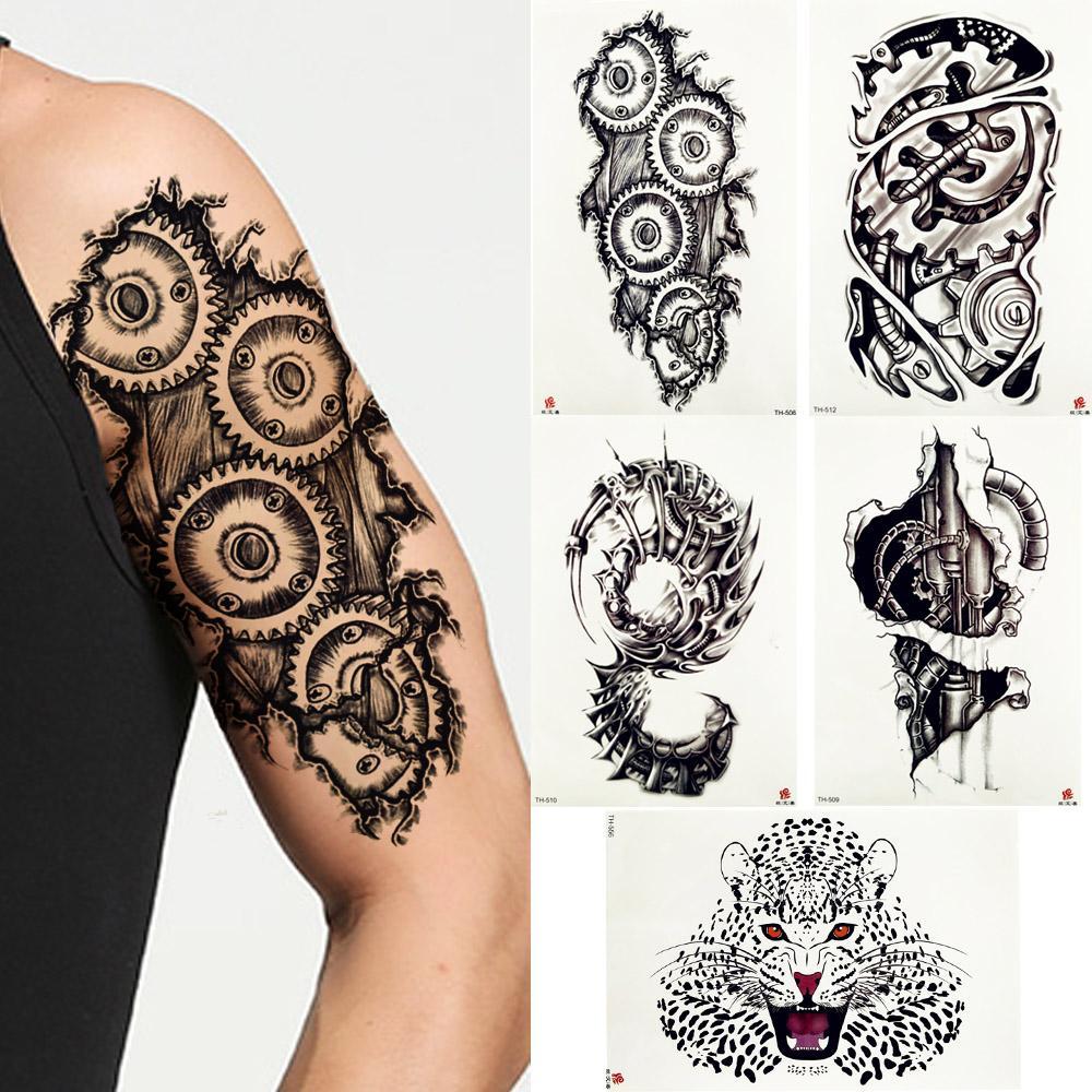 Fanrui Robotic Mechanical Arm Tattoo Temporary Sticker Gear Screw Pencil Sketch Black Tatoo Gap Body Art 3d Fake Tattoos For Men Sticker You Tattoos