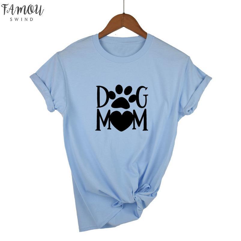 Dog Mom Paw Print Letters Harajuku-Druck-Frauen-T-Shirt Baumwollbeiläufiges lustiges T-Shirt für Dame Girl-Spitze T Hipster-Tropfen-Schiff