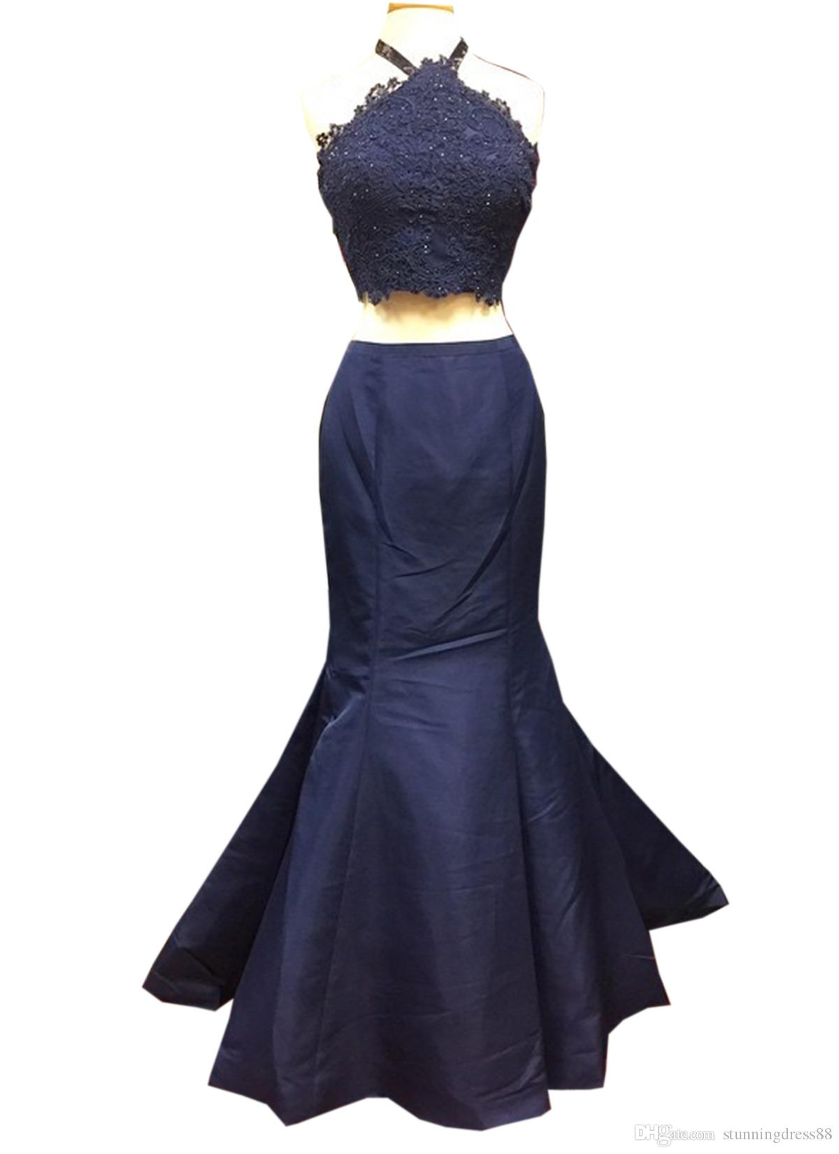 Sexy Navy Mermaid Evening Gowns Long Halter Lace Applique Backless Prom Formal Dresses Bridesmaids Evening Wear Party Dress Cheap