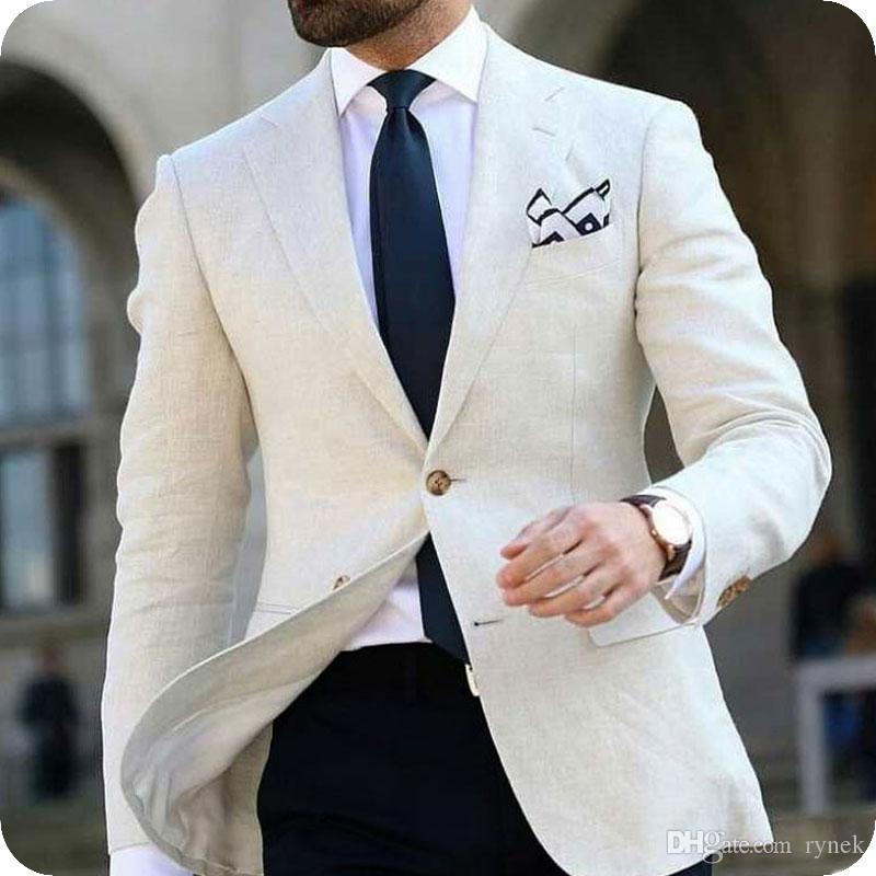 Ivory Linen Men Suits Groom Wedding Tuxedos Latest Designs Man Suit Slim Fit Male Blazers Jacket 2 Pieces Wool Blend Pants Costume Homme
