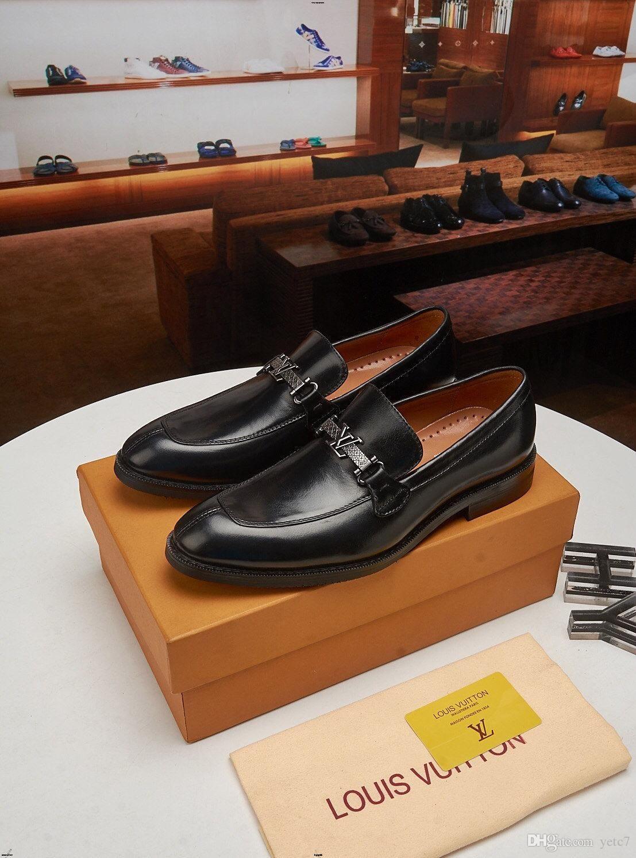 Parti Düğün Klasik İngiliz Stil erkekler altın elbise ayakkabı boyutu 11 YECQ5 için 19FW Lüks Markalar Shinny Glitter Mens deri loafer'lar
