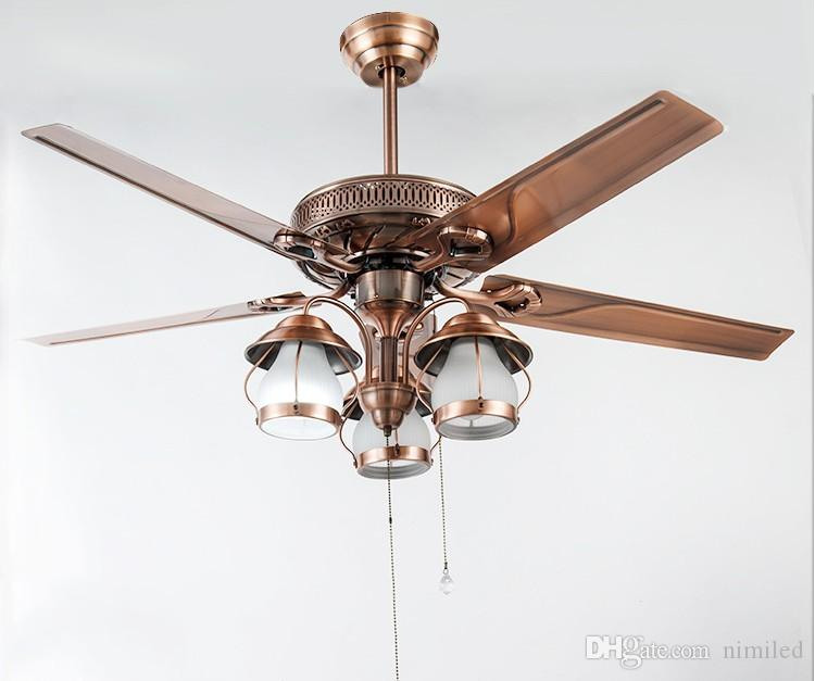 American rustic living room ceiling chandelier fan lights restaurant European antique Fan light vintage fan With LED lights LLFA