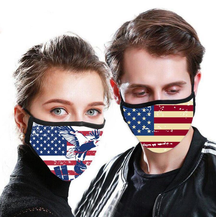 Flag Printed Mask American National Flag 3D Printed Waschbar PM2.5 Masken Anti-Staub-Gesichtsmaske Wiederverwendbare Mouth Muffel OOA7996
