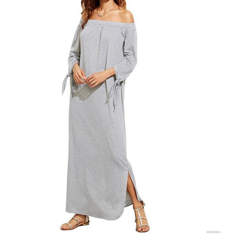 Women Casual Long Dress Sexy Off The Shoulder Long Sleeve Spring Autumn Dress Sexy Split Ankle Length Vestidos