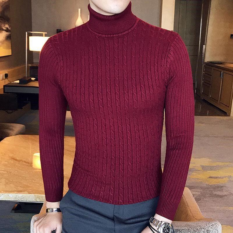남성 겨울 높은 목 두꺼운 따뜻한 스웨터 남성 터틀넥 남성 스웨터 슬림 맞춤 풀오버 니트웨어 남성 더블 칼라 T 셔츠