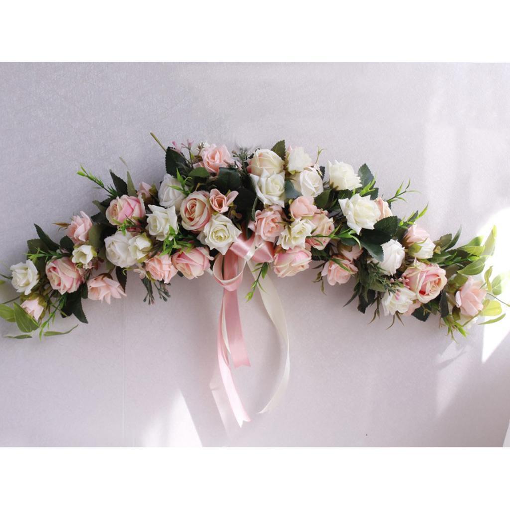 Simulação Rose Flor Chair Voltar Janela Parede do espelho Porta Wreath Garland viga de suspensão da flor fontes do casamento Decoração Pet
