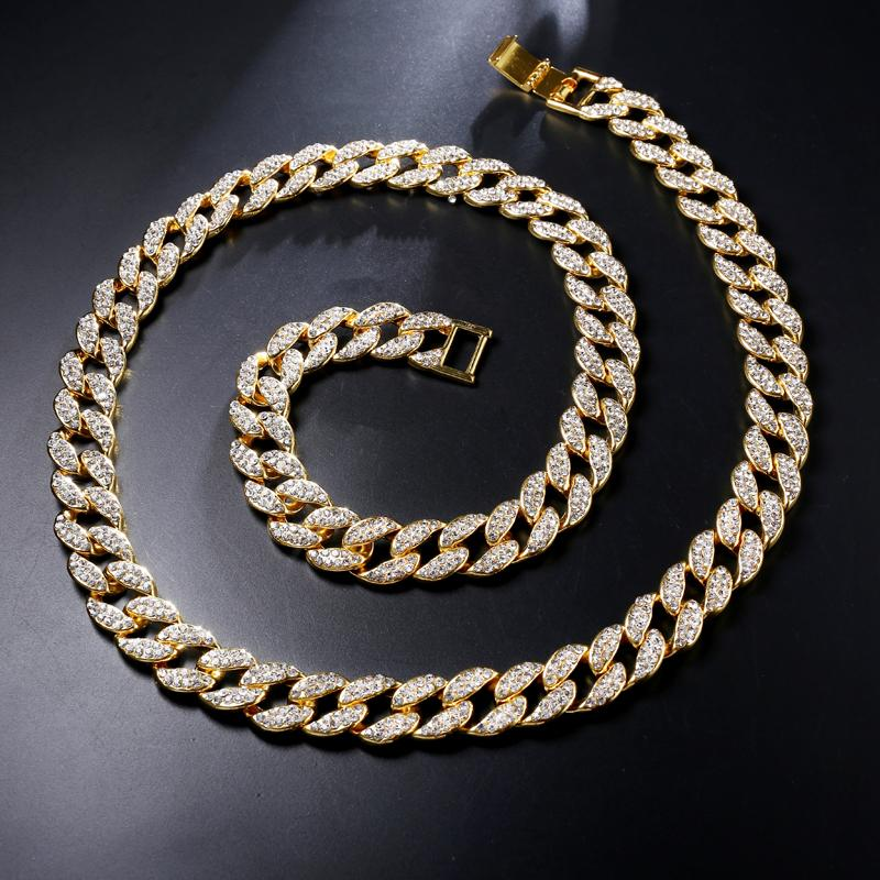 Hip Hop Miami Curb Cuban Chain Necklace 15mm 30inches Golden Iced Out Paved Rhinestones Cz Bling Rapper Necklaces Men Jewelry C19041601