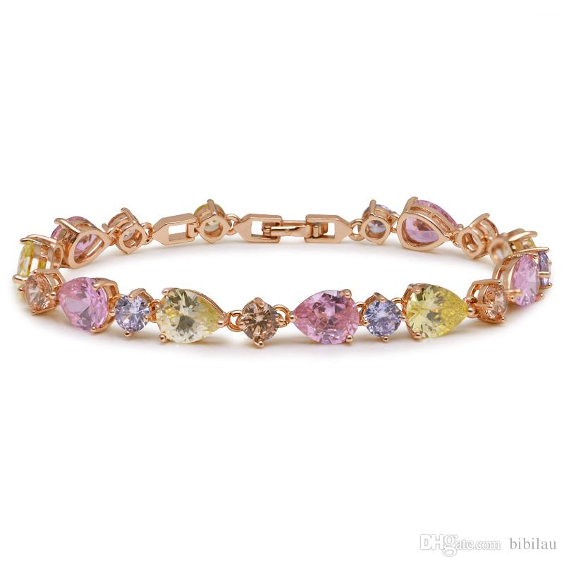 (247B) MGFam (17cm+2cm ) 18k Gold Plated Multicolor/Clear CZ Bracelet Fashion Jewelry For Women Lead and nickel Free