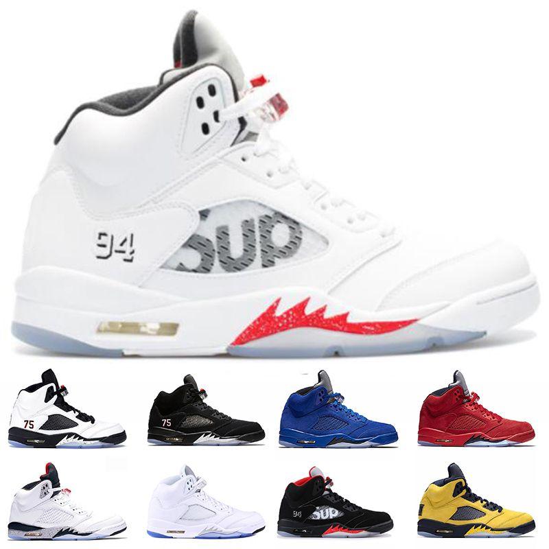Zapatos de baloncesto de los hombres 5s Sup Blanca 5 Paris Michigan Rojo ante azul SaintGermain Blcak Todo Formación zapatillas de deporte blanca de EE.UU. 7-13