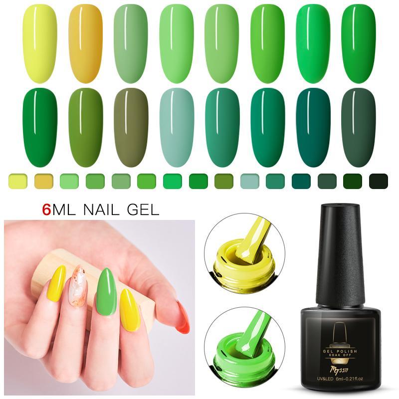 Mtsii 7 мл чистый желтый зеленый цвет цвет ногтей гель-лак маникюр Полупостоянная база топ УФ замочить ногти гель-лак ногтей