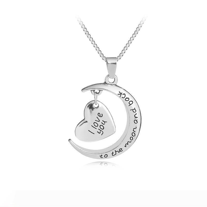 "Women heart moon pendant necklace ""I love you to Moon&Back"" clavicular chain birthday Valentine's Day nice gift"