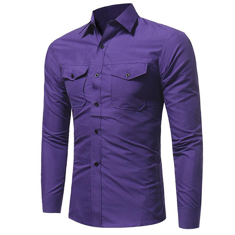 Erkekler Casual Gömlek 19SS Bahar Casual Gömlek Cepler Tasarımcı Tek Breasted Uzun kollu T shirt Tops