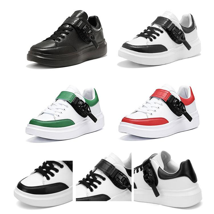 2019 Luxury Platform Designer Chaussures Hommes Rouge Noir Blanc Vert Womens Casual Party Chaussures Fashion Chaussures en cuir Boucle magique