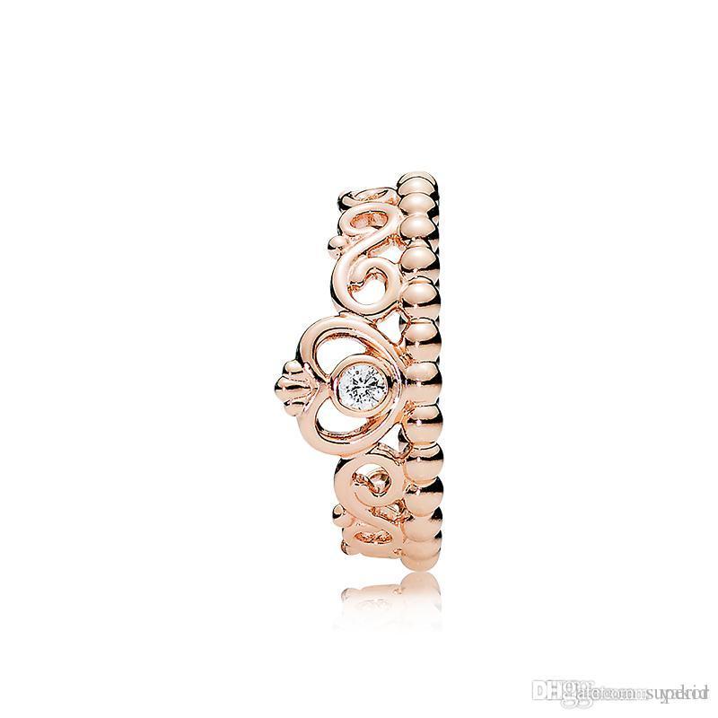 Neue Damenmode-18K Rose Gold Prinzessin Krone Ring Set Original Kasten für Pandora reales Silber 925 CZ-Diamant-Ehering