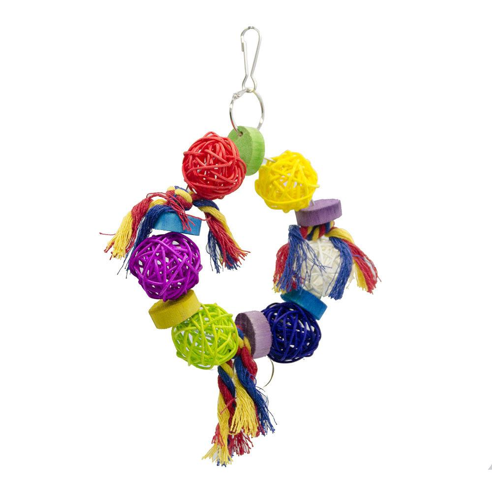 Toys Small Favour And Put Sb. In Important Position Product Bird Toys Middle And Small Size Parrot Will Sepaktakraw Wooden Gnaw Small Bell