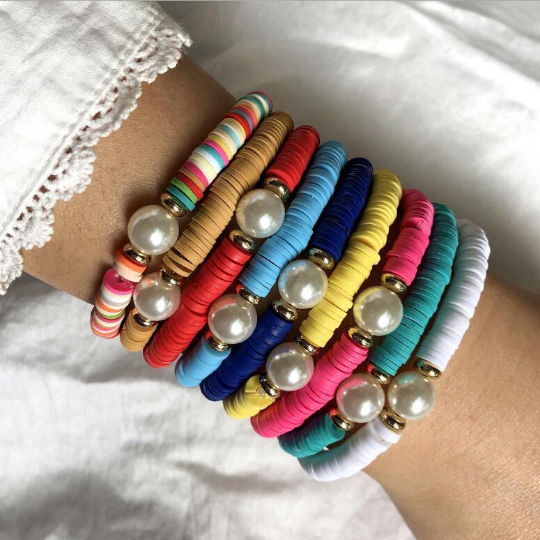 12 шт мягкая глина нарезанный жемчуг эластичный веревочный браслет для дам ручной плетения браслет транспортная веревка