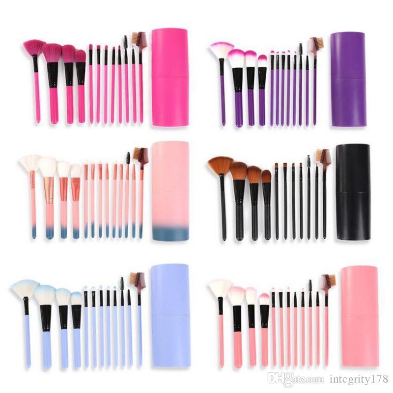 12 Unids / set Brochas de Maquillaje Herramienta Sombra de Ojos Fundación Ceja Cepillo de Labios cosméticos Portavasos de Cuero Estuche Kit 50 sets / lote DHL