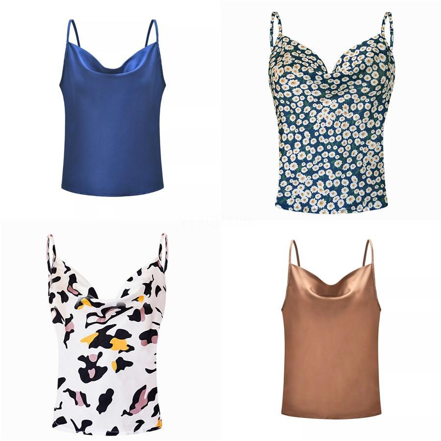 2020 ocasional del verano sin mangas sólido Camis las tapas del tanque de las señoras con cuello en V chaleco femenino verano de las mujeres de seda de imitación blusas # 209