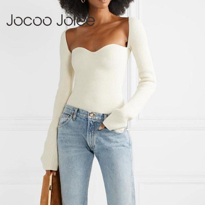 Jocoo Jolee 2020 Nouveau Automne Femmes cachemire col sqaure Pull manches pleine élastique taille haute sexy en maille Pull Jumpers
