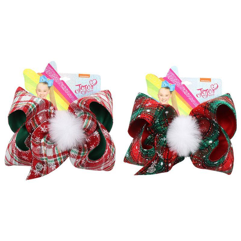 7-Zoll-Weihnachts JoJo Bögen Mädchen Pompom-Pelz-Kugel Grips Kids Jojo Siwa Haarnadeln für Xmas Party Haarschmuck headwraps