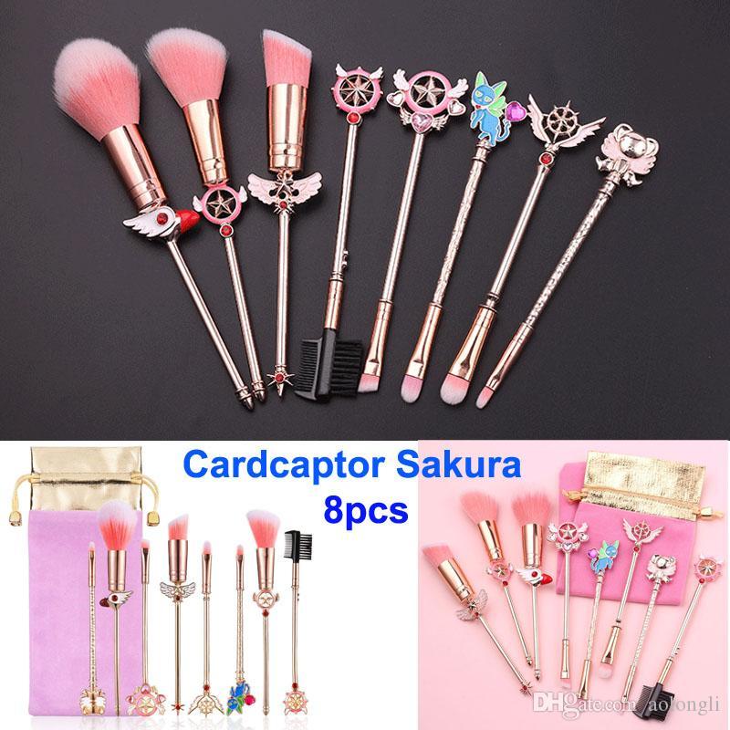 Makeup Щетки набор Cardcaptor Sakura Cosmetic Щетка моряка луна волшебная палочка девушка розовый золотой кисть кисти розовый пакет фундамент