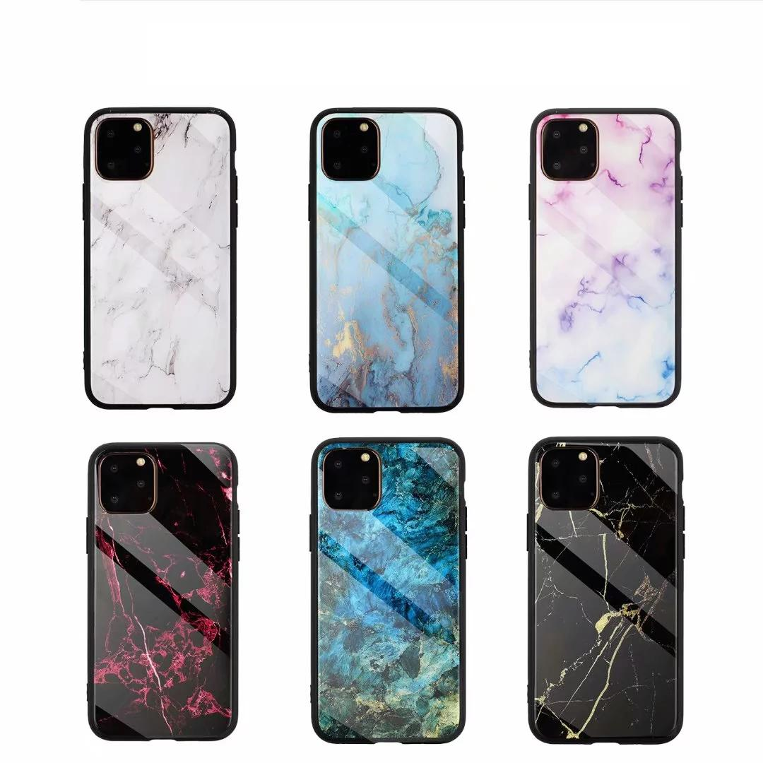 Real Tempered Glass Hard Case For Iphone 11 Pro XS MAX XR X 8 7 6 Plus Soft TPU Marble Natural Granite Stone Rock Hybrid Luxury Phone Cover