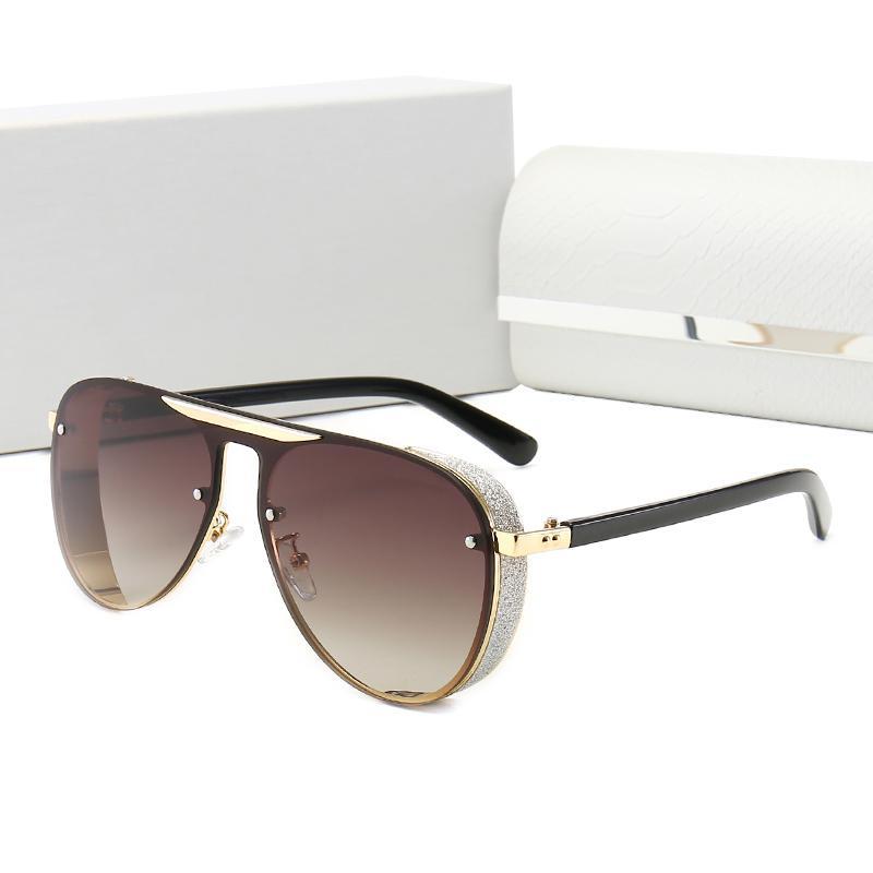 New Limted Edição de moda Óculos de sol das mulheres dos homens de metal dos óculos de sol do vintage Praça Estilo Moda Frameless UV 400 Lens Box Original e caso