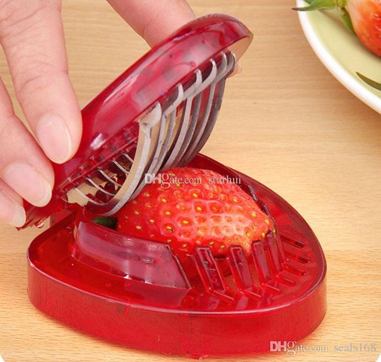 الفراولة القطاعة الفولاذ الصلب أدوات المطبخ الفاكهة نحت أدوات الفراولة كعكة أدوات تزيين سلطة القاطع HH7-2042