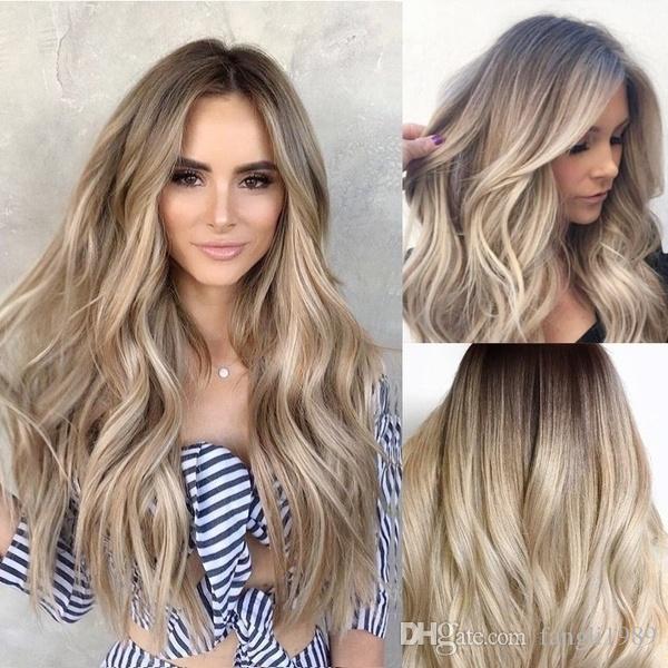 Mode-Körper-Wellen-Haar-Art für Frauen Blonden Gradient langen lockigen Haar-Mischfarben synthetisches Perücke Halloween-Kostüm