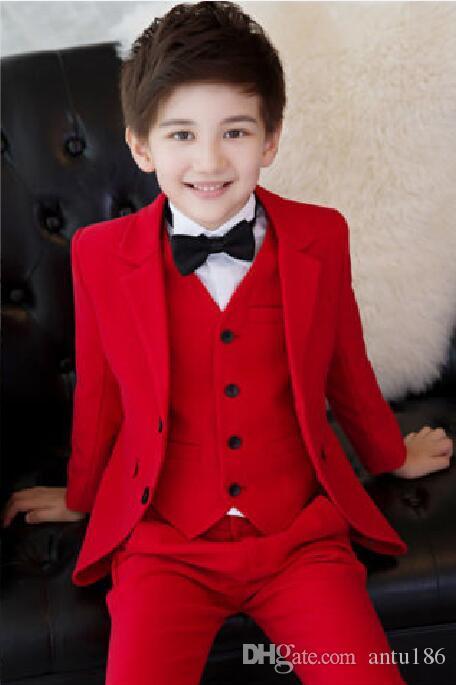 Erkek Çocuk Biçimsel 3-12 yaşındaki çocukların takım elbise üç parçalı takım elbise (ceket + pantolon + ceket) düğün çiçek kız elbise çocuk doğum günü partisi resmi elbise