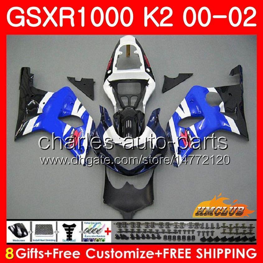 Rahmen für Suzuki GSX-R1000 GSXR1000 K2 GSX R1000 00 02 Stock Blaue neue Bodys Kit 14hc.43 GSXR-1000 GSXR 1000 00 01 02 2000 2001 2002 Verkleidung