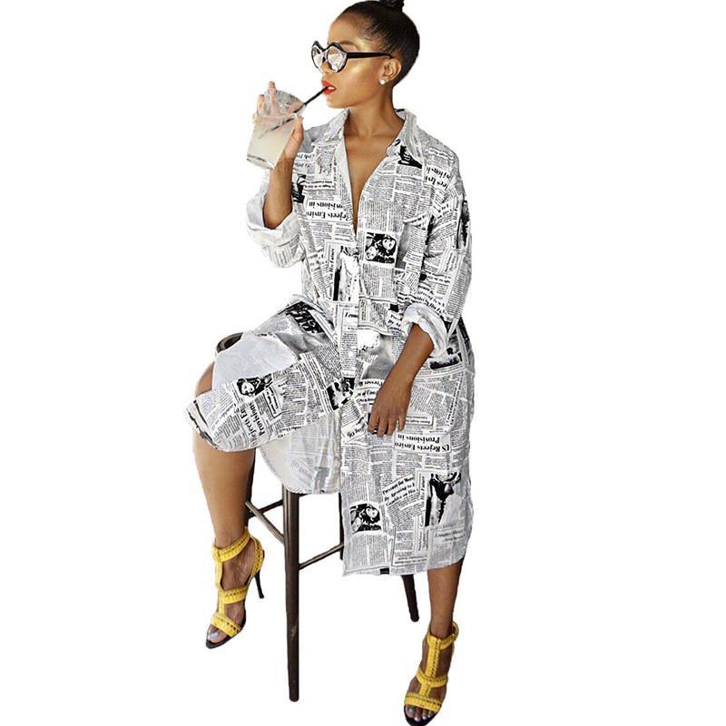 Газета печати с длинным рукавом платье Женщины воротник отложной кнопки Up Блуза платье дамы Streetwear Крупногабаритные рубашка
