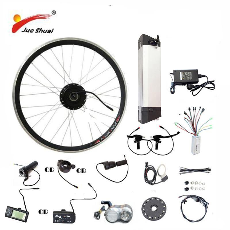 JS Hot Sale 36V 48V Electric Bike Kit Kettle battery 250/350/500W Motor Wheel LED LCD Ebike e bike Electric Conversion Kit