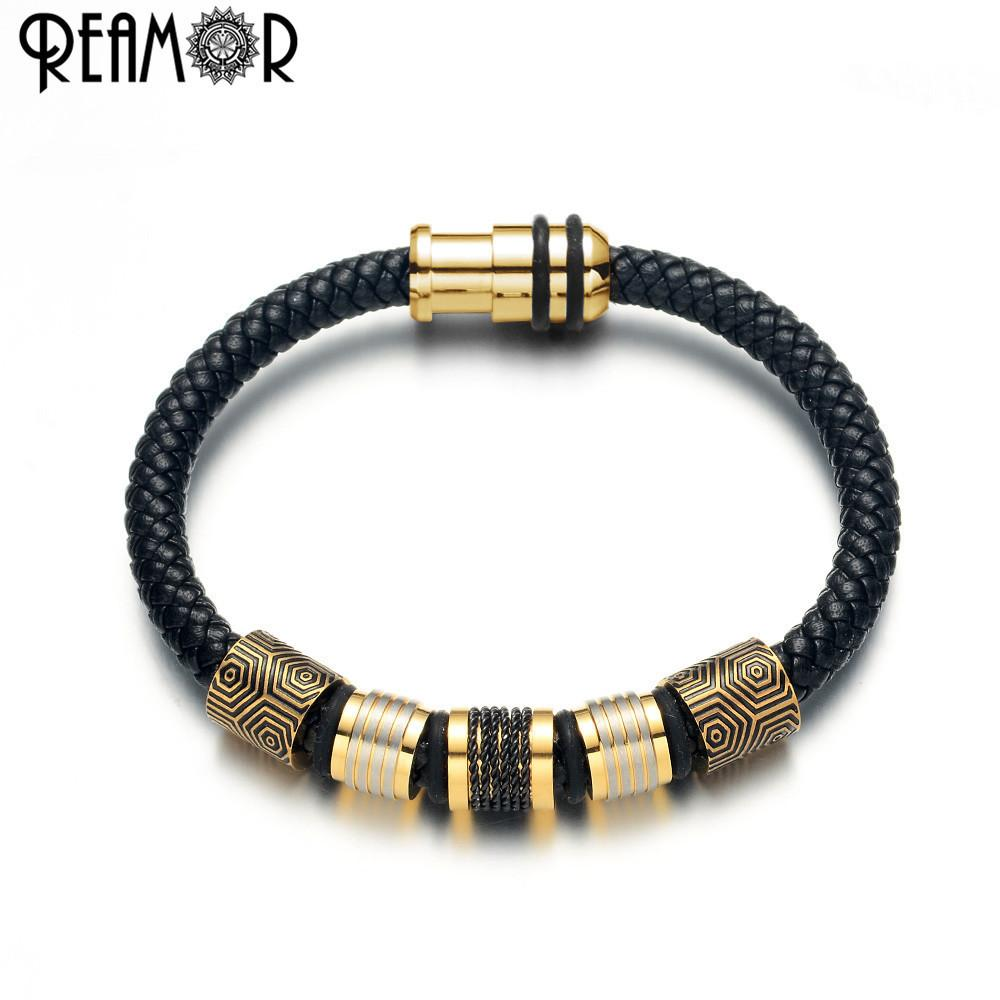 Mens 316L Gold Silver Stainless Steel Black Braided Leather Bracelet S Magnetic