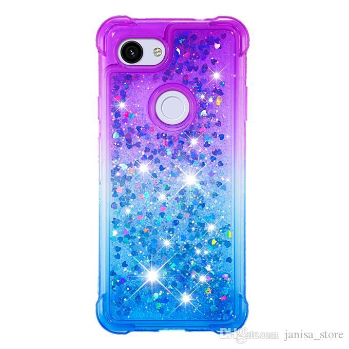 2021 Dernière vente chaude Résistant à la couleur imperméable de dégradé étanche QuickSand TPU Téléphone pour Google Pixel 3A 3Axl