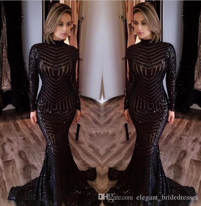 Sexy Noir Sirène Robes de soirée 2017 Nouvellement col montant Manches longues Paillettes Robes de bal balayage train Celebrity Tapis rouge Robes personnalisé