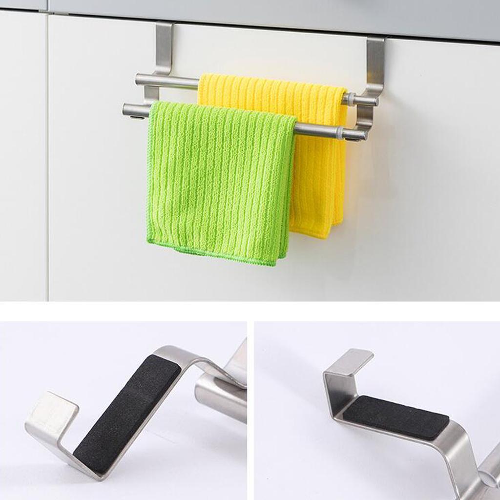 Aço Inoxidável Titular Toalheiros Cupboard Hanger Kitchen Bath duplo Bar
