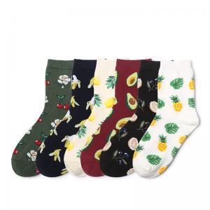 6styles Fruit pattern printed hosiery socks art painting knitted sport ankle sock women girl pineapple lemon socks FFA1626-2