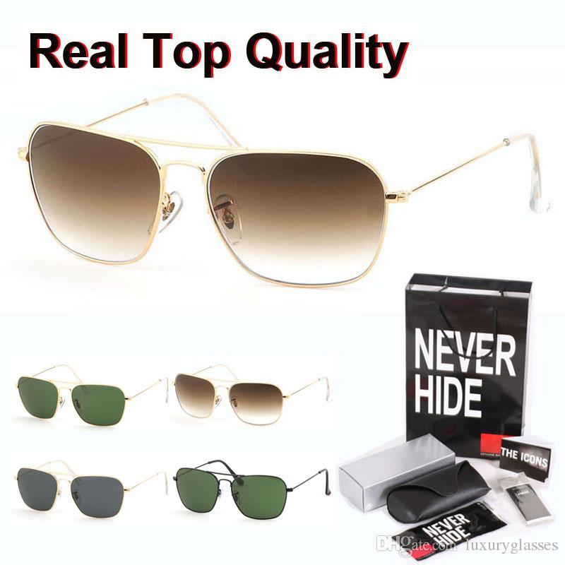 Alta calidad rectángulo de la manera gafas de sol para mujeres de los hombres lente de cristal Gafas Gafas de sol con la caja original, paquetes, accesorios, todo!