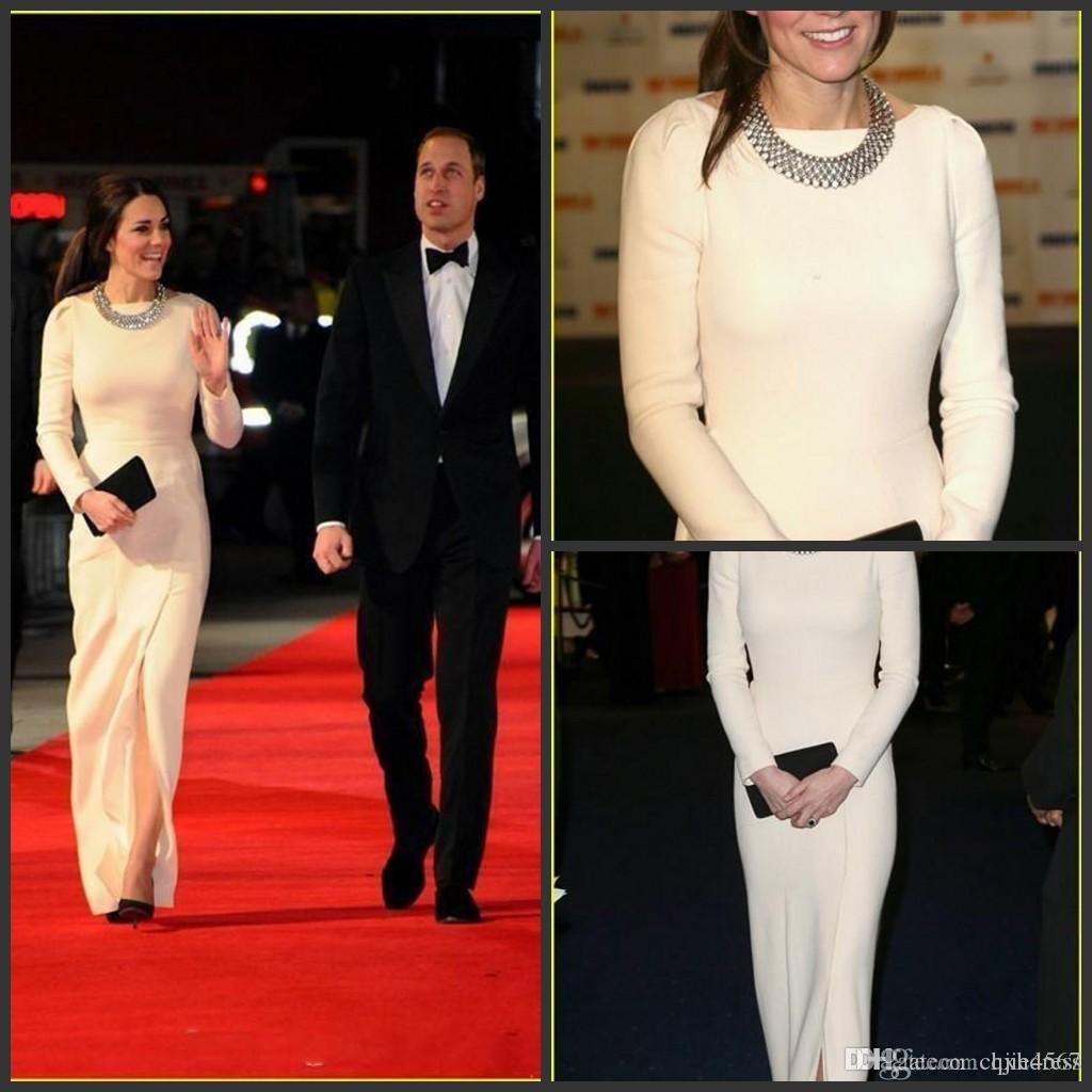 White Elastic Satin Floor Length Evening Dresses Long Sleeve Front Slit Kate Middleton Original Celebrity Dresses Red Carpet Dresses 777