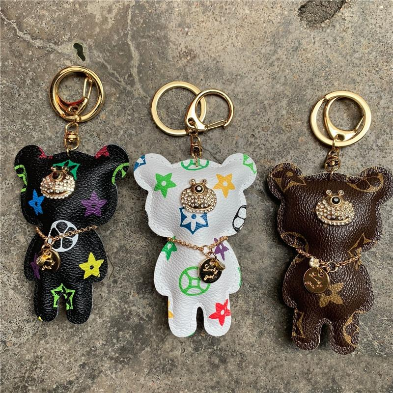 Key Chain Аксессуары кисточкой брелок Кожа PU Медведь Pattern автомобиля брелок ювелирные изделия сумка Шарм 2039
