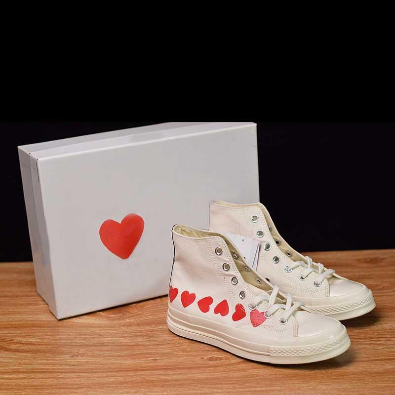 Designer Canvas Shoe Red Heart White
