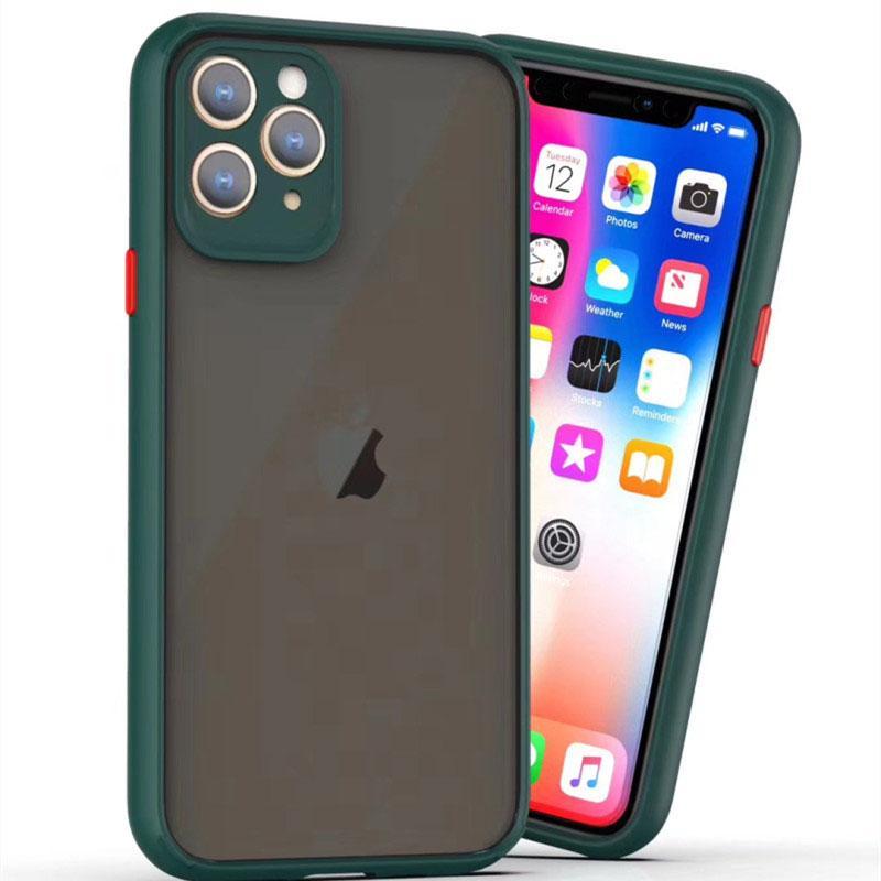 La caja del teléfono con el protector de la cámara para el iPhone SE2 11 pro x max 7 8 más a prueba de golpes de silicona parachoques clara PC dura de la