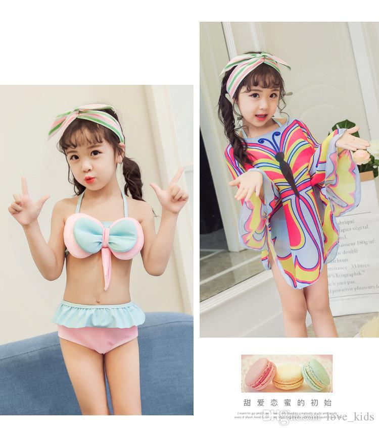 Protetor solar bebê meninas de manga comprida swimwear grande conjunto de biquíni arco com tampas de borboleta 3pcs set crianças maiô para 1-13 anos roupas de praia
