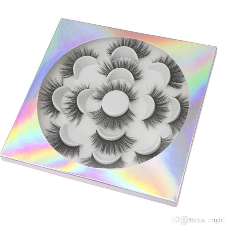 3D Faux Mink Pestañas hechas a mano 7 pares de pestañas En Bandeja Flor Natural largas pestañas falsas G-EASY